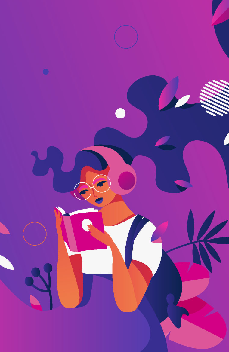 illustration of a woman of color reading a book on pink and purple abstract background.